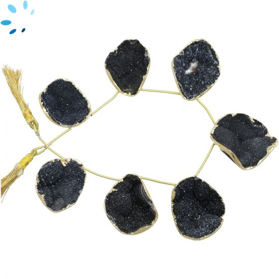 Black Druzy Top Drill Slice Gold Electroplated 25x20 - 34x23 mm