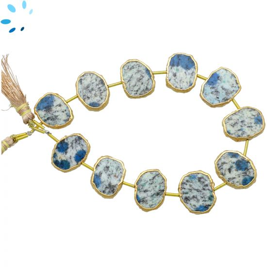 Azurite Jasper Coin Drill Slice Gold Electroplated 15x12 - 16x12mm