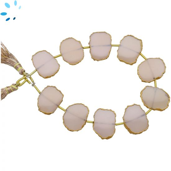 Pink Chalcedony Coin Drill Slice Gold Electroplated 15x12 - 17x14mm