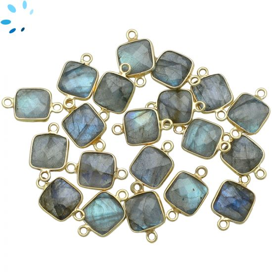 "Labradorite Faceted Square Connector 9.5x9.5 mm "" SET OF 4 ""-Gold Plated"