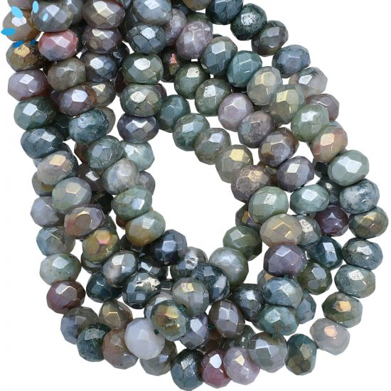 Mystic Coated Jasper Faceted Rondelle Beads 8mm