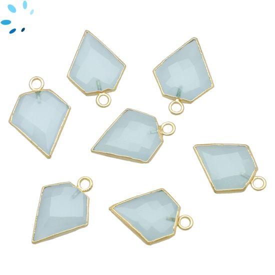 "Aqua Chalcedony Diamond Shape 15x13 - 16x13 mm "" SET OF 4 ""-Gold Electroplated"