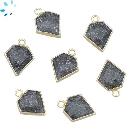 "Black Sunstone Diamond Shape 13x13 - 14x13 mm "" SET OF 4 ""-Gold Electroplated"