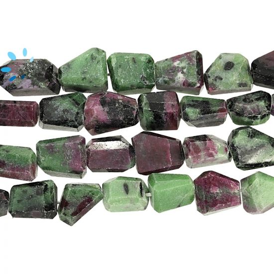 Ruby Zoisite Step Cut Nugget Beads  9.0x9.0 - 14x11MM