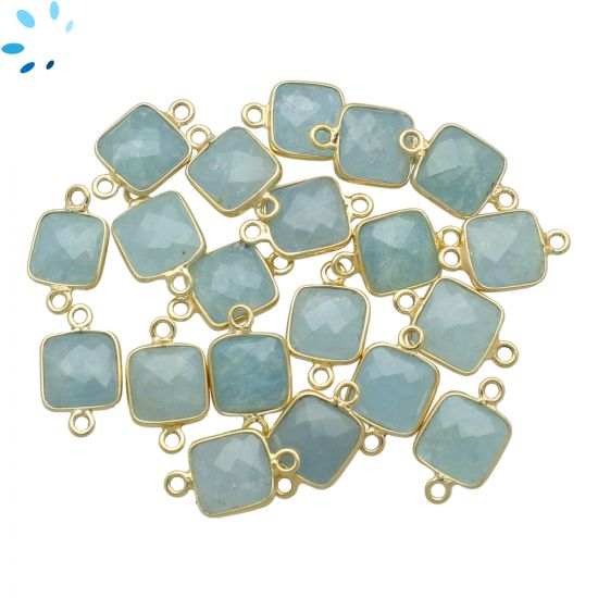 "Aquamarine Faceted Square Connector 9.5x9.5 mm "" SET OF 4 ""-Gold Plated"