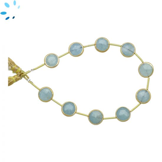 Sterling Silver Gold Plated Bezel Set Aquamarine Center Drill Coin Shape 10mm