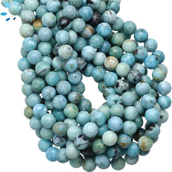 Peruvian Blue Opal Smooth Round Beads 6mm