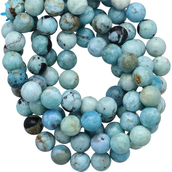 Peruvian Blue Opal 8mm Smooth Round Beads