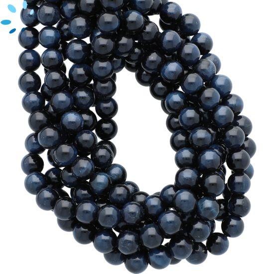 Natural Blue Tiger Eye Smooth Round Beads 6mm