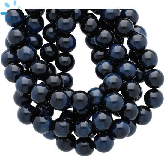 Natural Blue Tiger Eye Smooth Round Beads 10mm