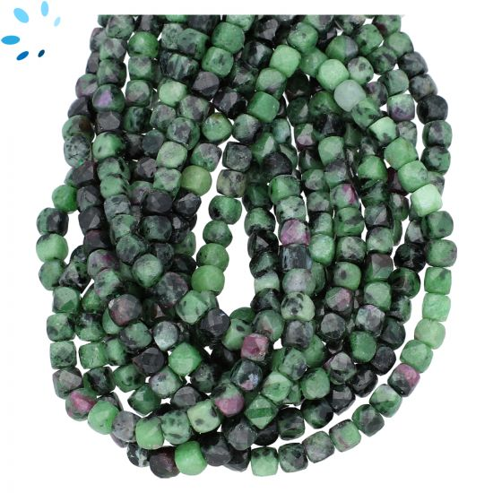 Ruby Zoisite Faceted Box Shape Beads 4x4mm