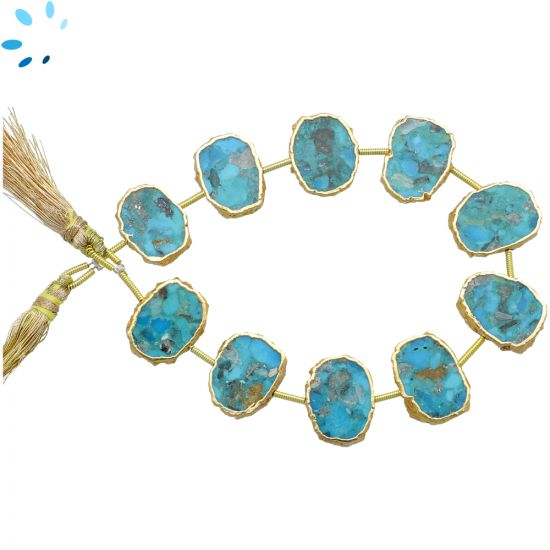 Turquoise Coin Drill Slice Gold Electroplated 15x11 - 17x13mm