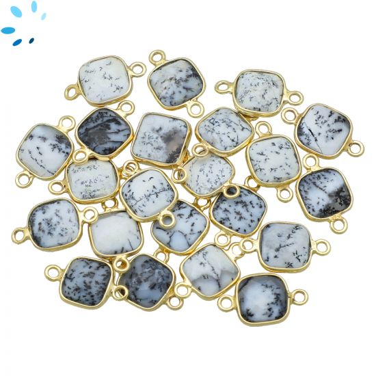 """Dendrite Opal Faceted Square Connector 9x9 mm """" SET OF 4 """"-Gold Plated"""