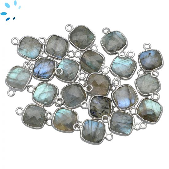"""Labradorite Faceted Square Connector 9x9 mm """" SET OF 4 """"-Silver"""