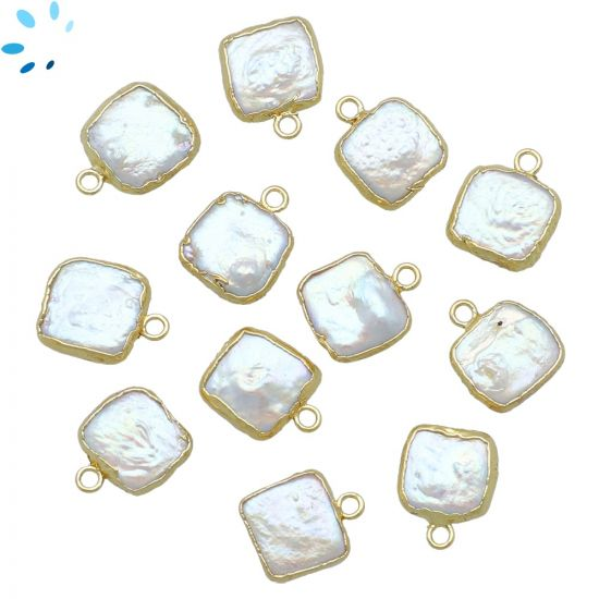 "Freshwater Pearl Square Shape Pendant 9x9 - 10x10 mm "" SET OF 4 ""-Gold Electroplated"