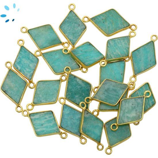 "Amazonite Diamond Shape Bezel Connector 16x12 - 18x12 mm "" SET OF 4 ""-Gold Plated"
