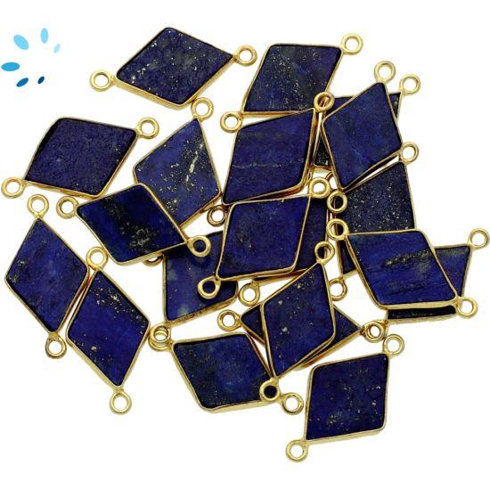 "Lapis Diamond Shape Bezel Connector 16x11 mm "" SET OF 4 ""-Gold Plated"