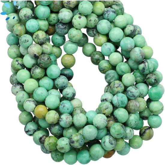 Genuine Green Variscite Smooth Round Beads 6mm