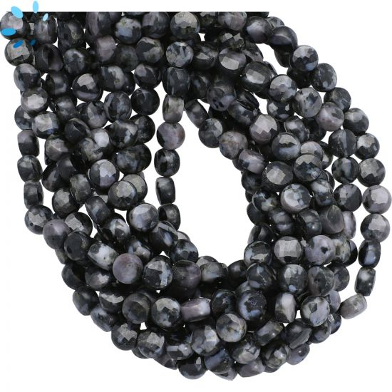 Indigo Gabbro Agate Faceted Coin Beads 6mm