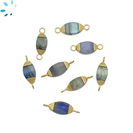 """Labradorite Puff Marquise Connector 10x5 - 11x5 mm Electroplated """" SET OF 4 """"-Gold Electroplated"""
