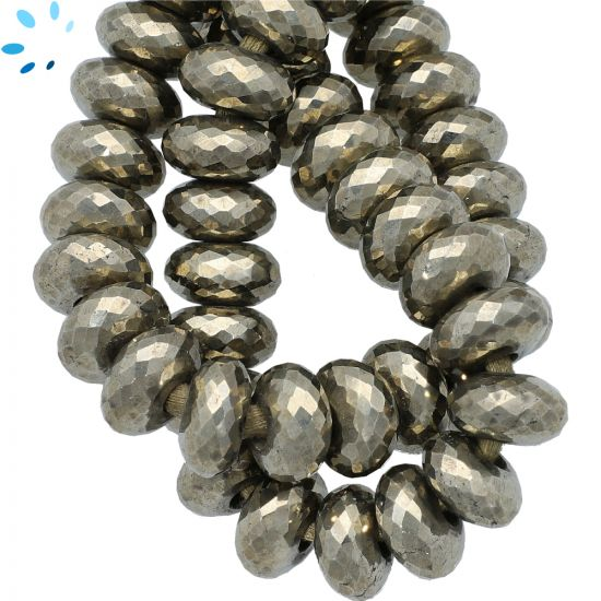 Pyrite Faceted Rondelle Large Hole Size Beads 14 mm - 4 mm Drill Hole