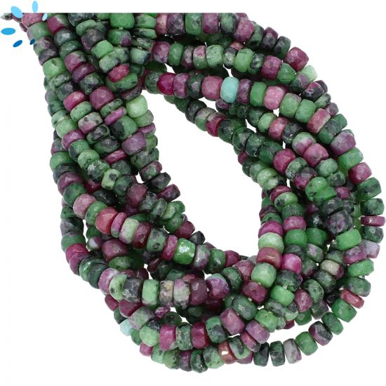 Ruby Zoisite Faceted Rondelle Large Hole Size Beads 5 mm - 1 mm Drill Hole