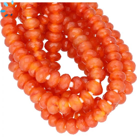 Red Onyx Faceted Rondelle Large Hole Size Beads 9 - 10 mm - 2 mm Drill Hole