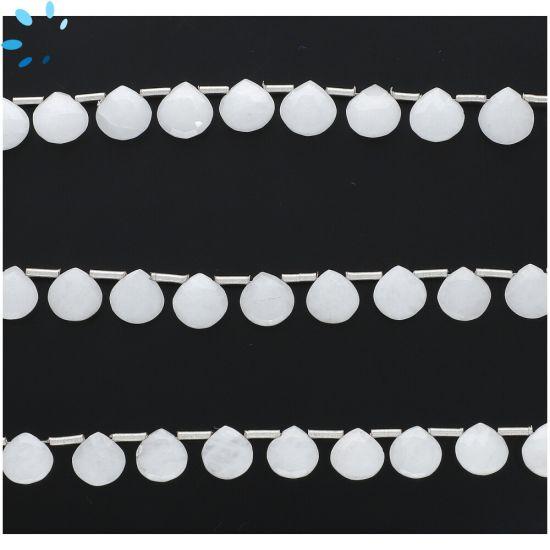White Milky Quartz Faceted Heart Shape Beads  8mm