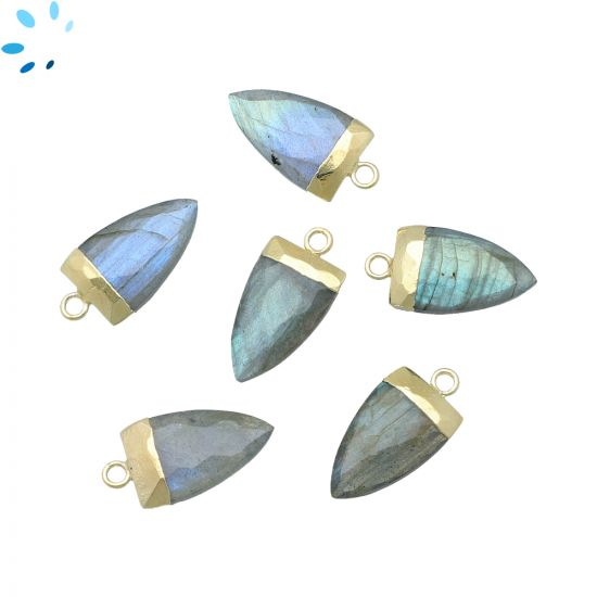"""Labradorite Half Marquise Shape 17x10 mm Electroplated """" SET OF 2 """"-Gold Electroplated"""