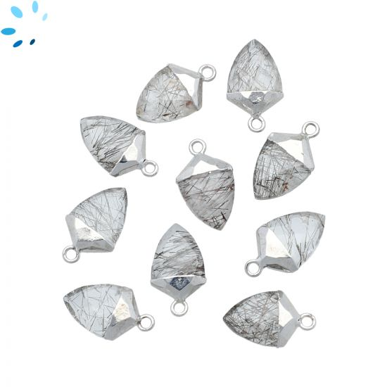 "Tourmaline Quartz Shield Shape 12x9 - 13x9 mm Electroplated "" SET OF 4 ""-Silver"