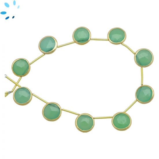 Sterling Silver Gold Plated Bezel Set Chrysoprase Chalcedony Top Drill Coin Shape 11 - 12 mm