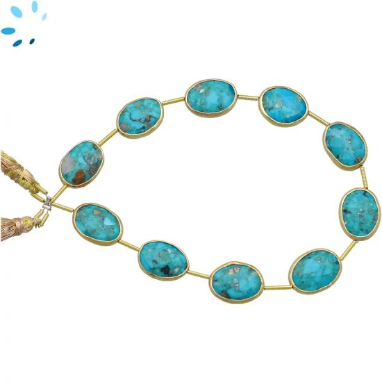 Sterling Silver Gold Plated Bezel Set Turquoise Nuggets 14x10 - 15x11mm
