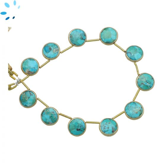 Sterling Silver Gold Plated Bezel Set Turquoise Top Drill Coin Shape 11 - 12mm
