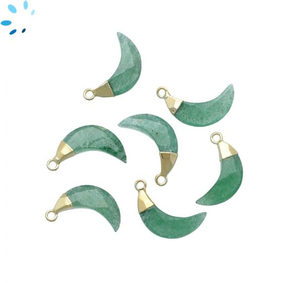 "Green Aventurine Moon Shape 15x5 - 16x6 mm Electroplated "" SET OF 4 """