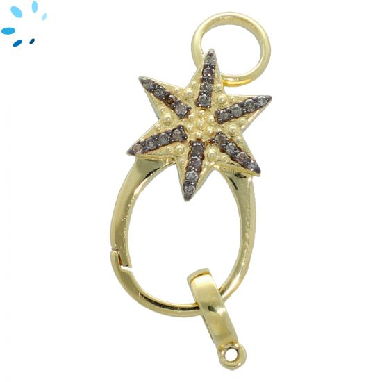 Pave Diamond Sterling Silver Star Lobster Clasp 25x13 mm