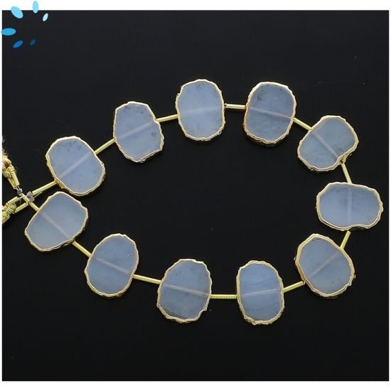 Mystic Coated White Chalcedony Coin Drill Slice Gold Electroplated 15x12 - 16x13mm