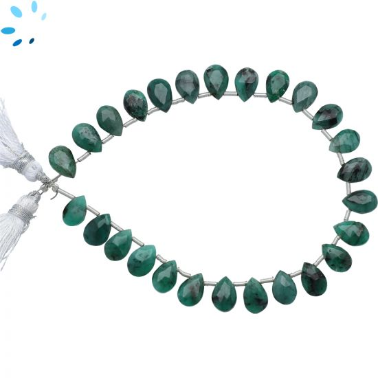 Raw Emerald Faceted Pear Shape Beads 8x6 - 9x6 mm