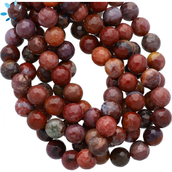 Red Multi Color Brecciated River Jasper Faceted Round Beads 8mm