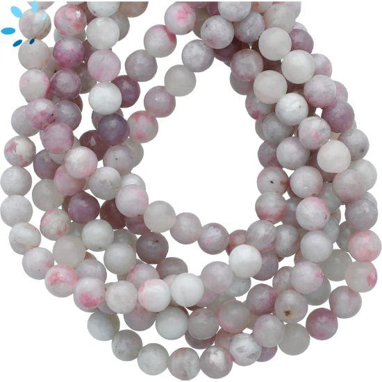 Pink Gray  Lepidolite Smooth Round Beads 6mm
