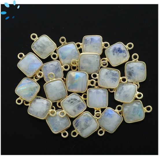 "Rainbow Moonstone Faceted Square Connector 9.5x9.5 mm "" SET OF 4 ""-Gold Plated"