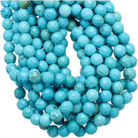 Chinese  Turquoise Faceted Round Beads 6mm