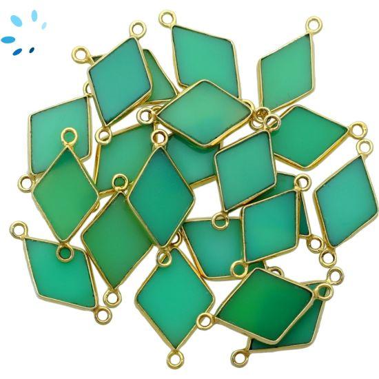"Chrysoprase Chalcedony Diamond Shape Bezel Connector 16x11 - 17x12 mm "" SET OF 4""-Gold Plated"