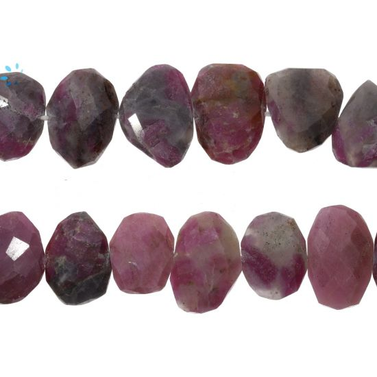 Ruby Zoisite Faceted Coin Drill Nuggets 16x12 - 20x15Mm