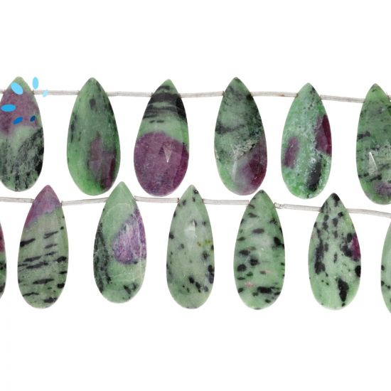 Ruby Zoisite Pear Shape Faceted Beads  25x10 - 27x11mm