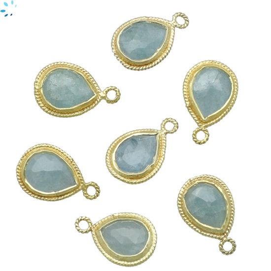 """Sterling Silver Gold Plated Aquamarine Twist Wire Bezel Pear Shape 11x9mm """" SET OF 4 """""""