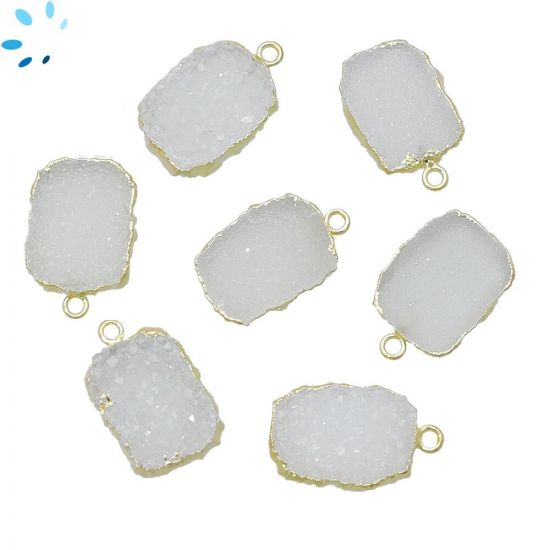 """White Druzy Slice Pendant 14x10 - 15x11mm """" set of 4""""-Gold Electroplated"""