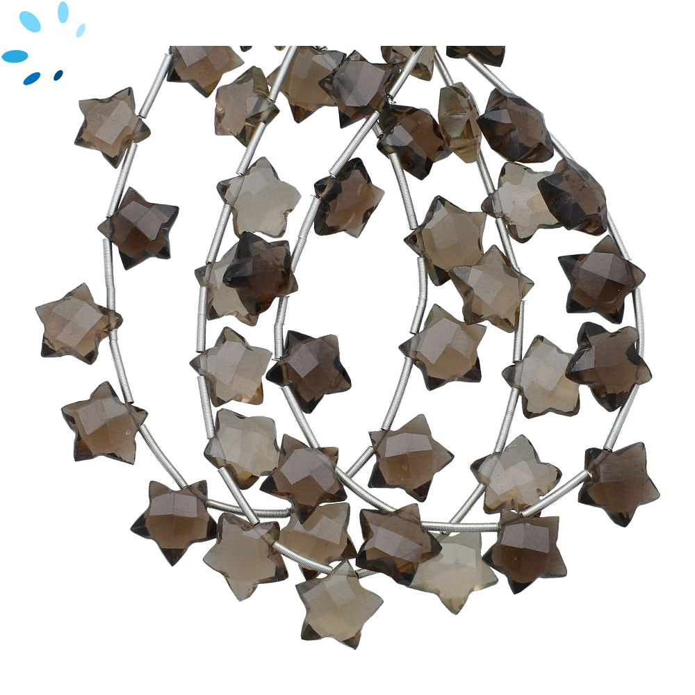 18 BeadsStrand Approx 13x11mm Smoky Quartz Faceted Fan Shape Beads Strand