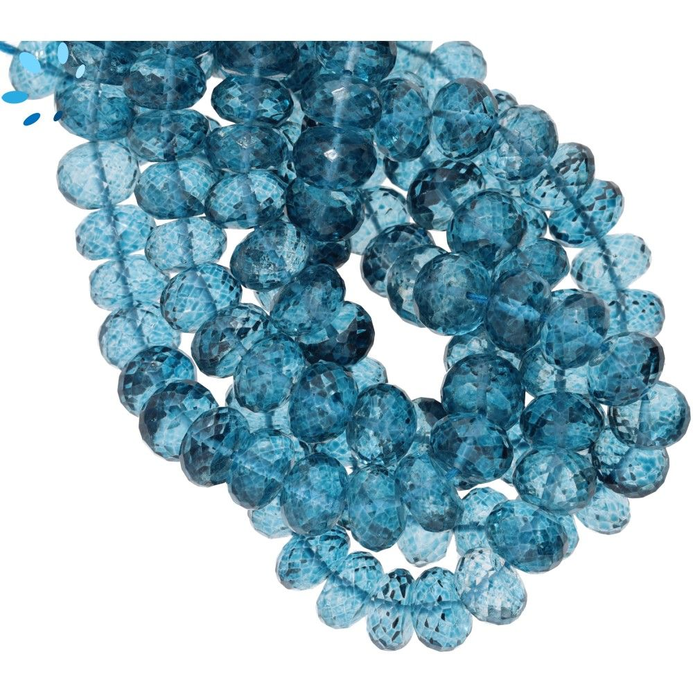 London Blue Quartz Gemstone Fancy Stylist Smooth Round Big Hole Loose Beads 5 Pcs 10x10 MM 5 MM hole