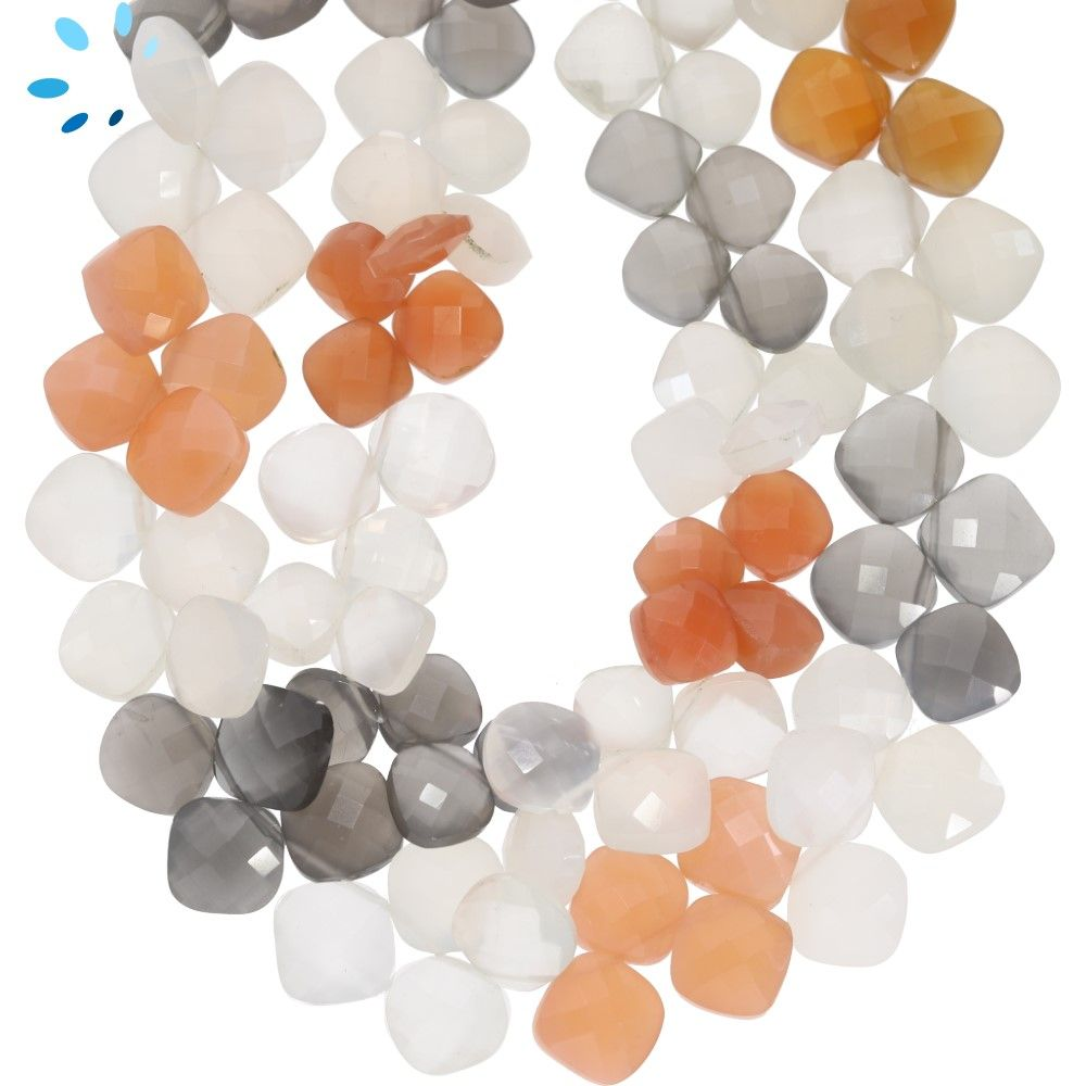 Moonstone Faceted Fancy Shape Coated Beads 7Strand 10\u00d720-10\u00d721mm 12Beads...b1137