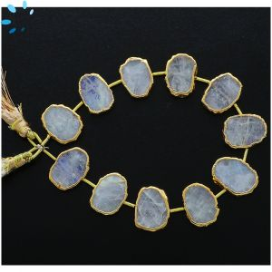 Rainbow Moonstone Coin Drill slice Gold Electroplated 14x11 - 17x13mm